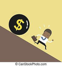 African businessman get away money ball down.
