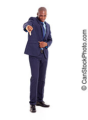 african businessman giving thumb down