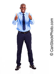 African businessman giving two thumbs up