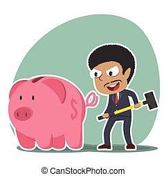 African businessman going to break piggy bank