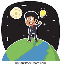 African businessman got an idea on earth illustration design