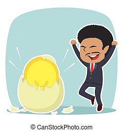 African businessman got his idea hatched from egg illustration design
