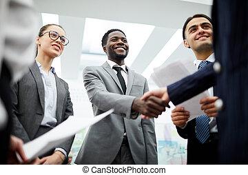 African Businessman Greeting Partner