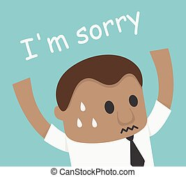 African Businessman hand up shock and says i am sorry illustration