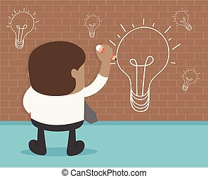 African businessman hand with a pen drawing light bulb