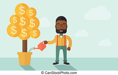 African businessman happily watering the money tree.