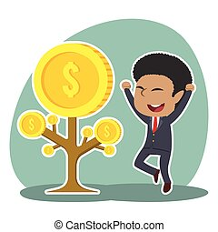 African businessman happy his coin tree grow