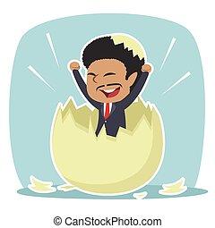African businessman hatched from egg illustration design