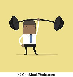 African businessman holding a heavy barbell with one hand.