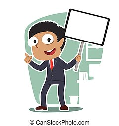 African Businessman holding board sign