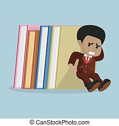 african businessman holding stack of books