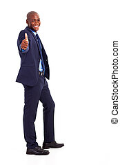 African businessman in suit giving thumb up