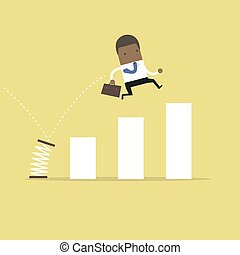 African businessman jump spring across the growing bar chart. Growth for business concept.