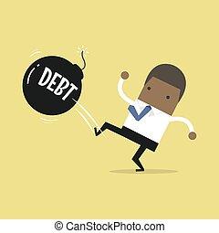 African businessman kicking debt bomb ball away like as soccer ball, success tax business.