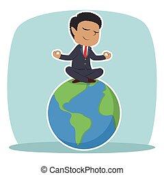 African businessman meditating on earth