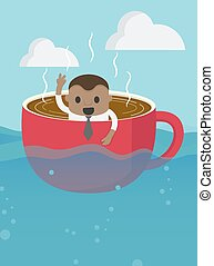 African businessman On boat rowing like coffee cup in the vast, smile on her face