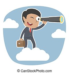 African businessman on clouds looking through monocular