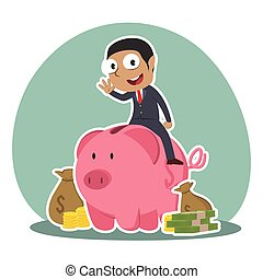 African businessman on piggy bank with a lot of money