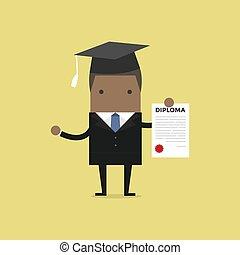 African businessman or student with a diploma of completion education.