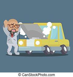 African businessman panicked broken car
