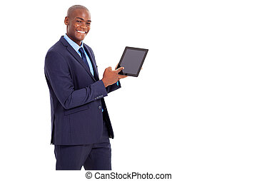 african businessman pointing at tablet