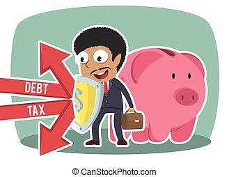 African businessman protecting piggy bank form debt and tax