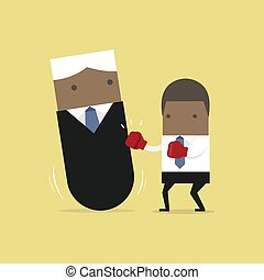 African businessman punching boss tumbler doll.