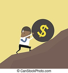African businessman pushing a huge burden ball with dollar sign up hill.