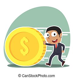 African businessman pushing coin