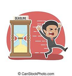 African businessman running away from deadline