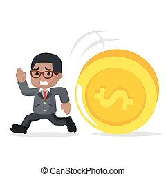 african businessman running in the chase by giant coin