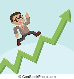 African businessman running up graphic