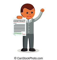 African businessman showing contract