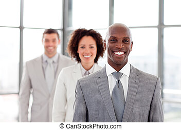 African businessman smiling at the camera