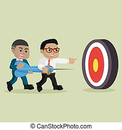 African businessman together hit the target
