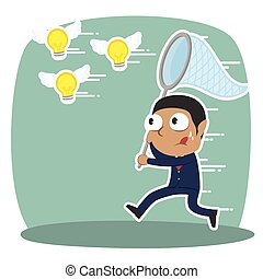 African businessman trying to catch flying ideas illustration design