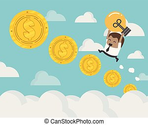 african businessman up the Ladder Coin steps of the coins to the concept of career