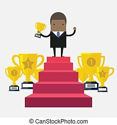 African businessman Walking Up Stairs, Concept Success Businessman Win Price.