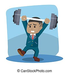 african businessman was lifted weights unbalanced dumbell...