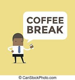 African businessman with coffee break.