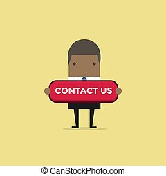 African businessman with contact us button.