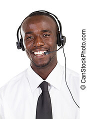 african businessman with headset