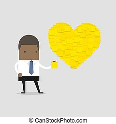 African businessman with Heart shape yellow sticky notes.