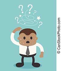 African businessman with question mark on a blue background