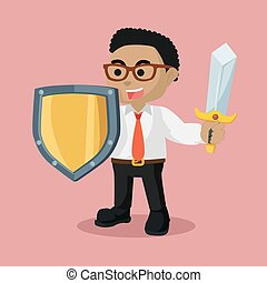 African businessman with sword and shield