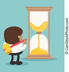 African businessmen are about to destroy the hourglass that sets his time for him to live a not happy life.