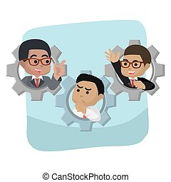 African businessmen in a gear vector illustration design