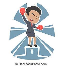 African businesswoman boxer champion