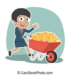 African businesswoman carrying trophies on wheelbarrow