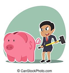 African businesswoman going to break piggy bank